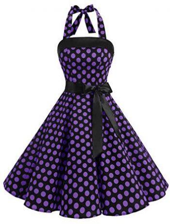 Timormode Vestido De Vintage Cóctel 50s Elegante Mujer con Cinturón