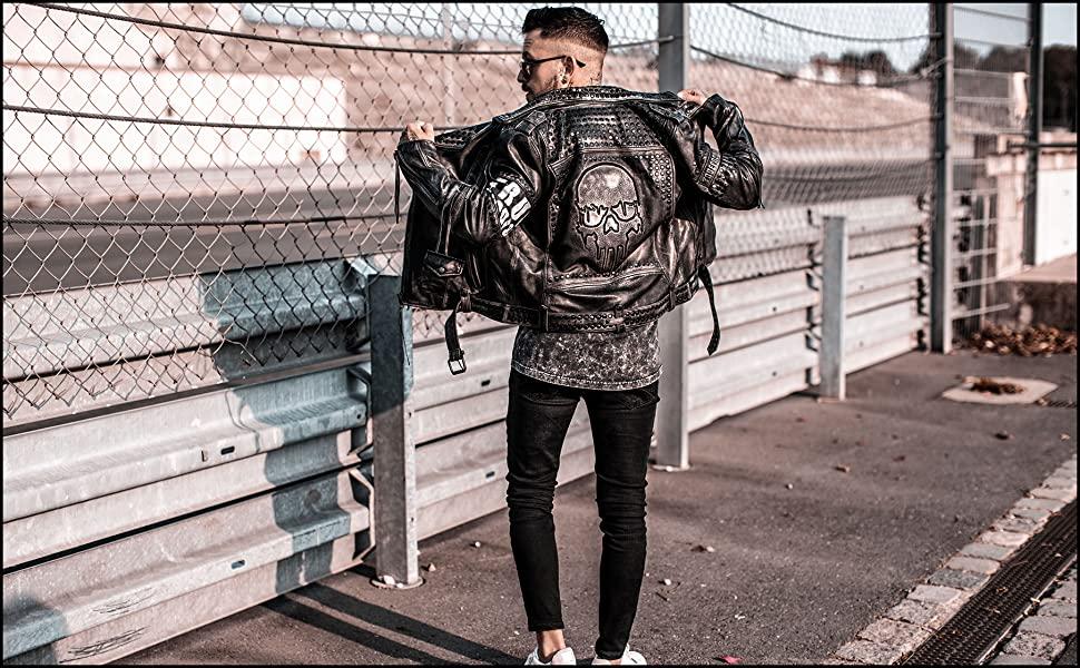 trueprodigy cazadora biker chaqueta de piel cuero skull print