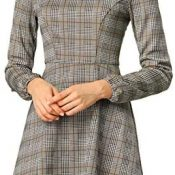 Allegra K Mini Vestido A Cuadros Vintage Cuello Cuadrado De Otoño para Mujer