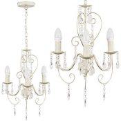 MiniSun - Lámpara de techo de estilo araña 'Lille II' vintage - de diseño vintage francés, 3 luces y color crema