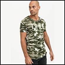 Trueprodigy - Camiseta de cuello redondo para hombre, color caqui con logotipo impreso vintage, modelo 1