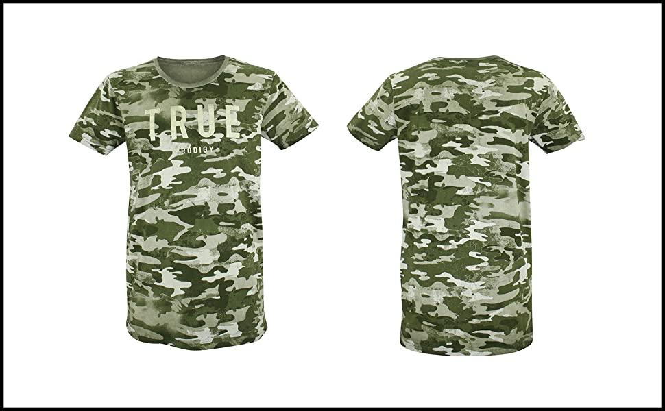 Trueprodigy - Camiseta con cuello redondo, logotipo de color caqui impreso, camuflaje vintage