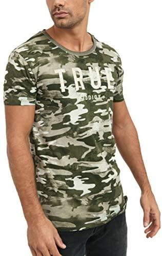 trueprodigy Casual Marca Camiseta para Hombre con impresión de Logotipo Militar Ropa Retro Vintage Rock Vestir Moda Cuello Redondo Manga Corta Slim fit Design t-Shirt