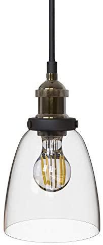 B.K.Licht Lámpara de techo colgante de una llama, estilo vintage, requiere bombilla E27 LED, max. 60 W, 230 V, índice de protección IP20, color latón y cristal