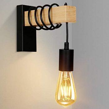 Albrillo Lámpara de Pared de Madera E27 - Lámpara de Vintage Industrial de Pared, Altura Ajustabl, Iluminación Interio para Sala, Dormitorio, Pasillo, Negro(Sin Bombillas)
