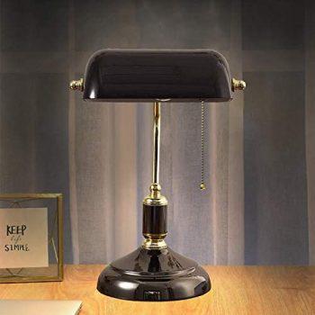 ACMHNC Lámpara de Banquero Negro Lámpara de Mesa Vintage Con Interruptor de Tracción, Nostálgica Lámpara de Escritorio Retro Con Pantalla de Vidrio Ajustable Y Base de Metal, Negro y Dorado, E27