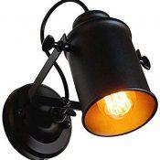Aplique de Pared Vintage Ajustable Lámpara de Pared Retro Loft Lámparas de Pared Industrial, para Dormitorio, desván, sala de estar, pasillo, salon, cafe, Negro, E27 MAX 60W(Bombillas No Incluidas)