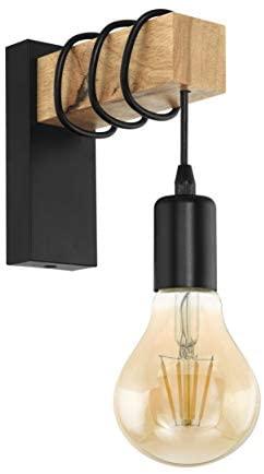 Aplique de pared TOWNSHEND, aplique de pared vintage con 1 bombilla en diseño industrial, lámpara retro de acero y madera, color: negro, marrón, casquillo: E27