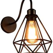 Apliques de Pared Vintage Aplique retro Jaula Lámpara Industrial Lámpara de Pared,Casquillo E27,Color Negro,20cm,Metal Sconce sombra de iluminación [Clase de eficiencia energética A+]