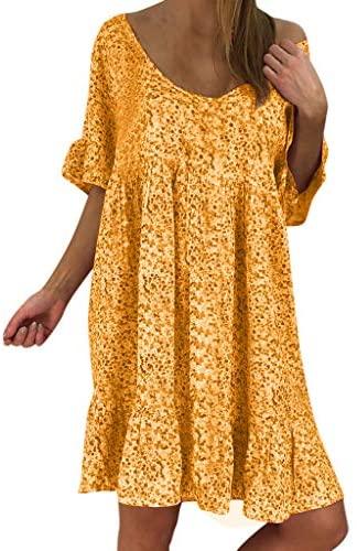 Auifor Grande con Cuello en V de Flores de Manga Corta de Verano de la Falda de Gran tamaño pequeño Mini Falda del Vestido de Fiesta de la Playa de la Moda de Las Mujeres con Volantes Ocasionales