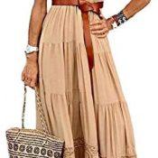 CORAFRITZ Vestido largo de verano para mujer de color sólido con niveles llano con cuello en V sin mangas