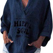 Fossen MuRope Camisas Mujer Manga Larga Imitación Lino Baratas Hippie de Cuello en V - Blusas de Mujer Tallas Grandes Flojo Clásico - Top para Mujeres para Playa,Vacaciones