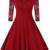 KOJOOIN Vestido Vintage 50 años Vestido Corto Mujer Cuello Redondo A-Linea