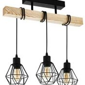 Lámpara de techo EGLO TOWNSHEND 5, lámpara de techo vintage con 3 bombillas de estilo industrial, lámpara de suspensión retro de acero y madera, color: negro, marrón, portalámparas: E27
