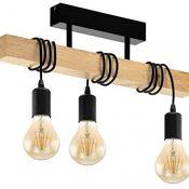 Lámpara de techo EGLO TOWNSHEND, lámpara de techo vintage con 3 bombillas de estilo industrial, lámpara de suspensión retro de acero y madera, color: negro, marrón, casquillo: E27