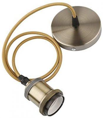 Lámpara de techo vintage retro, lámpara de techo antigua, casquillo E27, cable trenzado de bronce