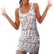 Onsoyours Mujer Vestidos Falda Sin Mangas Sólida Mini Vestido Chaleco Playa con Estampado Retro Camisetas Vestidos