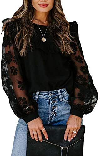 WangsCanis Blusa de mujer elegante vintage blusa top cuello redondo de manga larga de sacudida transparente para primavera/otoño
