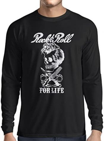 lepni.me Camiseta de Manga Larga para Hombre Rock and Roll For Life - 1960s, 1970s, 1980s - Banda de Rock Vintage - Musicalmente - Vestimenta de Concierto