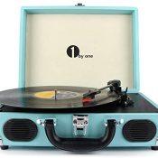 1 by One Tocadiscos Vintage con Placa Giratoria de 3 Velocidades y Altavoces incorporados, Salida RCA, Auriculares, MP3, reproducción de música de móviles, Turquesa