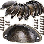 10 pcs Tiradores de Metal Vintage Bronce Manillas Manijas para Puertas de Muebles Antiguos Armarios Cajones de Habitación Cocina Bañocon Tornillos