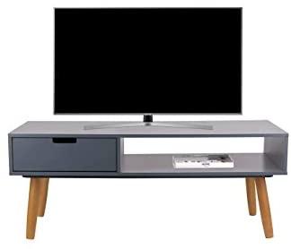 LIFA LIVING Mueble TV Gris, Mesa televisión de diseño Vintage Industrial, Soporte para Tele con estantes y Patas de Madera, 40 x 100 x 40 cm