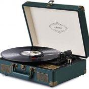 Asmuse Tocadiscos de Vinilo Vintage Reproductor de Musica Mediante Bluetooth y USB 3 Velocidades 33/45/78 RPM Altavoces estéreo Integrados Cuero cinturón de Conducir