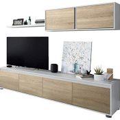 Mueble de Salon Moderno, Modulos Comedor, Modelo Alida, Acabado en Blanco Artik y Roble Canadian, Medidas: 200 cm (Ancho) x 43 cm (Alto) x 41 cm (Fondo)