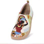 UIN Zapatillas Ligeras sin Cordones para Mujer, Zapatos Planos para Caminar, Zapatos de Viaje Pintados con Arte Floral Informal, Oopsie Daisy
