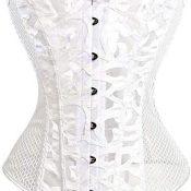 EZSTAX - Corsé de encaje para el vientre, estilo vintage, corpiño, para mujer V-blanco. XL