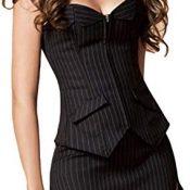 EZSTAX - Corsé de encaje para el vientre, estilo vintage, corpiño, para mujer T-negro. L