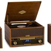 auna Belle Epoque 1910 Wood Edition - Equipo de música, Tocadiscos, Altavoces estéreo, 2X 5W RMS, Reproductor de vinilos, CD, Pletina de Casete, Bluetooth, USB, AUX, FM, Marrón Claro
