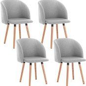 WOLTU 4X Sillas de Comedor Nordicas Estilo Vintage Dining Chairs Juego de 4 Sillas de Cocina Sillas Tapizadas en Lino Silla de Conferencia Silla de Escritorio Gris Claro BH120hgr-4