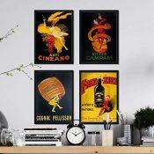 Nacnic Posters Vintage. Posters con anuncios Antiguos. Cuatro Carteles Vintage de Bebidas alcohólicas. Campari, Cinzano, Cognac. Tamaño A4
