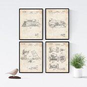 Nacnic Vintage - Pack de 4 Láminas con Patentes de Camiones. Set de Posters con inventos y Patentes Antiguas. Elije el Color Que Más te guste.
