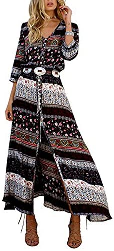 Vestido largo floral de mujer Butterme Vintage con cuello en v. Bohemia Boho Side. Vestido con cuello alto Manga larga. Maxi Vestido para playa marrón marrón large