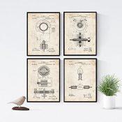Nacnic Vintage - Pack de 4 Láminas con Patentes de Electricidad. Set de Posters con inventos y Patentes Antiguas. Elije el Color Que Más te guste. Impreso en Papel de 250 Gramos de Alta Calidad