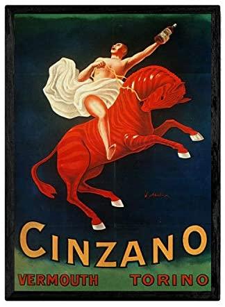 Nacnic Poster Vintage de Cinzano. Láminas para Decorar Interiores con imágenes Vintage y de Publicidad Antigua. Cuadros decoración Retro. Tamaño A4