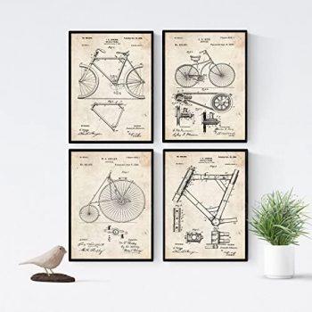 Nacnic Vintage - Pack de 4 láminas con Patentes de Bicicletas. Set de Posters con inventos y Patentes Antiguas. Elije el Color Que más te guste. Impreso en Papel de 250 Gramos de Alta Calidad