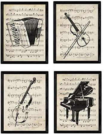 Nacnic Set de 4 láminas de Enciclopedia Vintage con Instrumentos y Partituras. Piano, Violin, chelo, acordeon. Música clásica. Tamaño A4. con Marco.