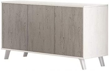 Mueble Aparador 3 Puertas, Buffet para Cocina y Comedor, Modelo Soto, Acabado en Color Andersen Pino y Gris, Medidas: 138 cm (Largo) x 39,5 cm (Fondo) x 70 cm (Alto)