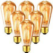 6x 6.5W Bombillas Vintage Edison LED E27, Bombillas con Filamento Casquillo Gordo, Equivalente a 54W con 720 Lúmenes, 2500K Blanco Cálido, ST64 Bombilla Retro Decorativa - ANWIO.