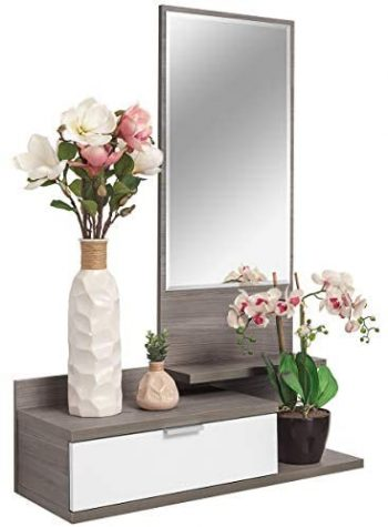 COMIFORT Recibidor Colgante - Mueble de Entrada con Cajón, Espejo y 3 Estantes de Estilo Nórdico y Moderno, Muy Resistente y Estable, de Color Blanco y Trufa