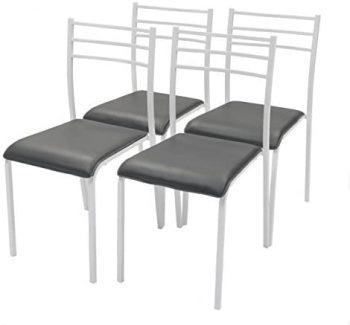 Homely Pack de 4 sillas de Cocina Paris con Estructura de Metal y Asiento en PVC (Blanco-Gris)