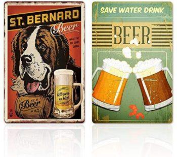 2 Piezas Bar Vintage Pintura de Hojalata,Arte Hierro Pintura Retro/Cartel de Pared de Lata Vintage,Bar Decoración de la Pared de Fondo,Decoración de la Sala de Bar