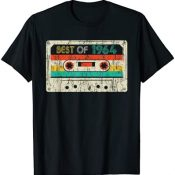 57th Birthday Gifts Best Of 1964 Cassette Vintage Men Women Camiseta