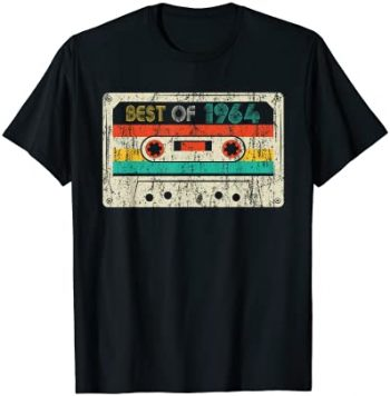 57th Birthday Gifts Best Of 1964 Cassette Vintage Men Women Camiseta