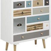 AC Design Furniture Muebles de Diseño Cómoda Suwen Cajones Multicolores, Patas de Pino, Lacado Transparente, 11 Piezas, Blanco, 70 x 32 x 81 cm