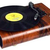 ALLWIN Reproductor De Discos De Vinilo con Bluetooth, Tocadiscos Vintage Reproductor De Vinilo con Bluetooth Reproductor De Discos LP con 3 Velocidades 33/45/78 RPM Y 2 Altavoces Estéreo Integrados