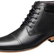 ANUFER Hombres Vintage con Cordones Cuero Botines Cremallera Formal Zapatos de Vestir